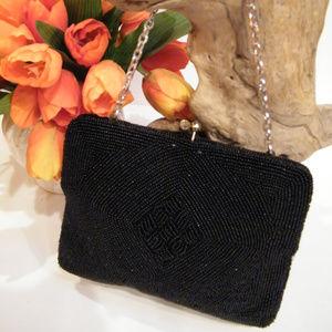 Vintage Black Beaded Purse Handbag Seed Beads